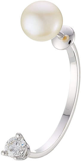 Delfina Delettrez 18kt White Gold Sphere Earring with Diamond and Pearl