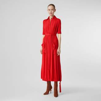Burberry Short-sleeve Gathered Jersey Dress