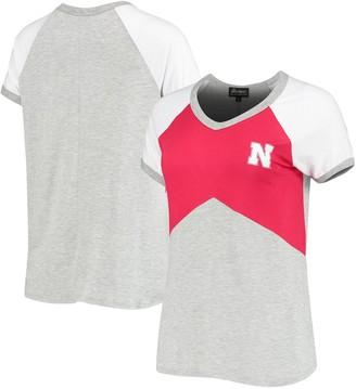 Women's Scarlet Nebraska Cornhuskers Bold Ambition Colorblock V-Neck Raglan T-Shirt