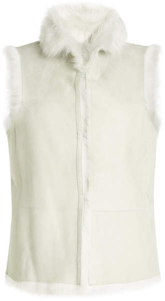 Closed Suede Vest with Shearling Lining
