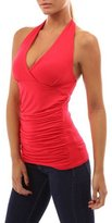 AuntTaylor Womens Open Back Halter Deep V Neck Ruched Solid Tank Tops S