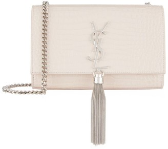 Saint Laurent Small Croc Kate Monogram Tassel Shoulder Bag