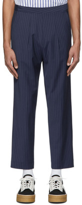 Martin Asbjorn Navy Wool David Cropped Pinstripe Trousers