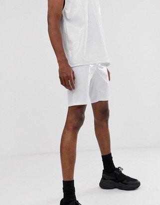 Asos Design DESIGN two-piece megging shorts in white vinyl fabric