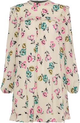 RED Valentino Ruffle-trimmed Floral-print Crepe Mini Dress