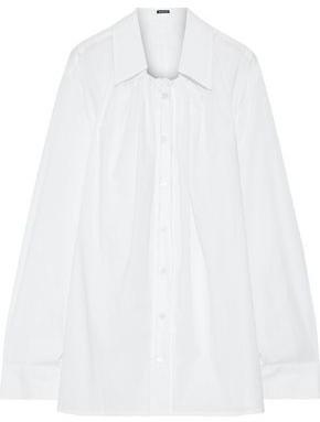 Ann Demeulemeester Oversized Gathered Cotton-poplin Shirt