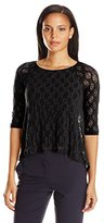 Only Hearts Women's Stretch Lace Raglan Boat Neck Lined