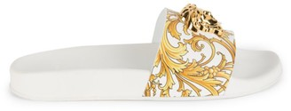 Versace Baroque Print Embellished Medusa Leather Slides
