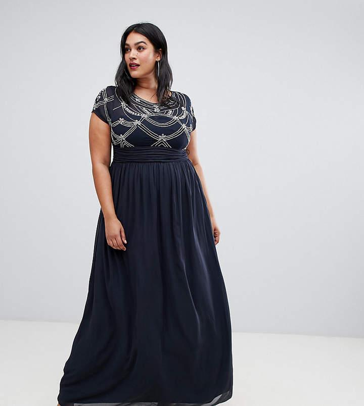 Plus Plus irridecent bead cap sleeve maxi dress