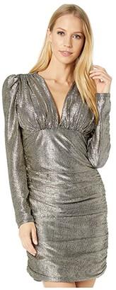 BCBGMAXAZRIA Long Sleeve Metallic Cocktail Dress (Gold Combo) Women's Dress