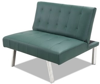 """Latitude Run Gumble 34.3"""" W Tufted Faux Leather Convertible Chair Fabric: Green Faux Leather"""