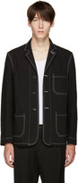 Umit Benan Black Contrast Stitching Blazer