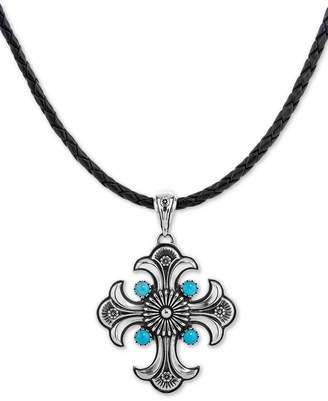 """American West Turquoise Cross Braided Leather Pendant Necklace (1-3/4 ct. t.w.) in Sterling Silver, 16"""" + 2"""" extender"""