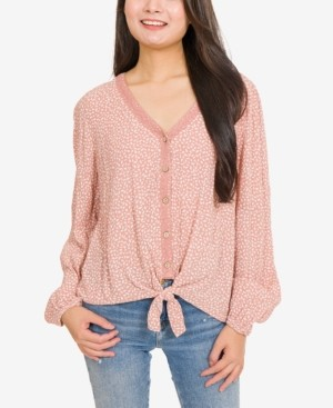 Hippie Rose Juniors' Printed Lace-Trimmed Tie-Hem Blouse