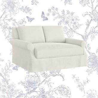 """Bellevue Slipcovered 61"""" Rolled Arm Loveseat Kelly Clarkson Home Upholstery: Microsuede Oyster"""