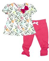 Kushies White & Fuchsia I Love Spring Dress & Leggings - Infant