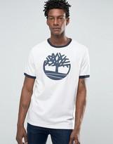 Timberland Logo Ringer T-shirt In White