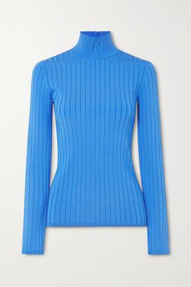 Nina Ricci Embroidered Ribbed-knit Turtleneck Sweater - Blue