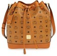mcm small heritage coated canvas drawstring bag brown