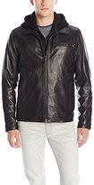 Vince Camuto Men's Lambskin Jacket with Removable Hood