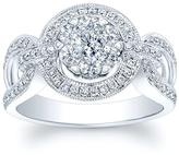 Ice 3/4 CT TW Diamond 14K White Gold Equestrian-Inspired Engagement Ring