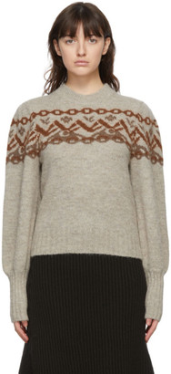 Chloé Beige Alpaca and Wool Fair Isle Sweater