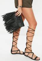 Missguided Black Faux Leather Fold Over Tassel Clutch Bag