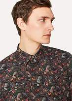 Paul Smith Men's Slim-Fit Black 'Psychedelic Sun' Print Cotton Shirt