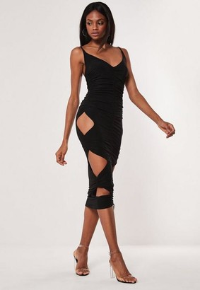 Missguided Black Double Layer Slinky Cut Out Midaxi Dress