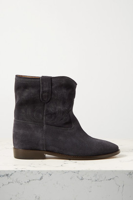 Isabel Marant Crisi Embroidered Suede Ankle Boots - Charcoal