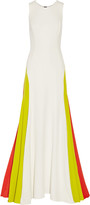 Milly Color-block fluted cady gown