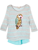 Speechless Gray & Aqua Sequin Parrot Swing Tunic - Girls