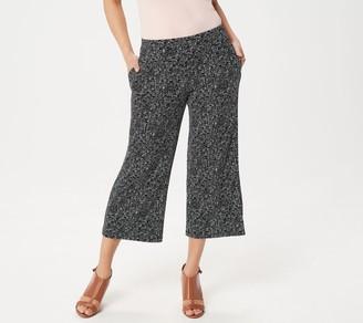 Susan Graver Printed Liquid Knit Pull-On Crop Pants