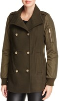 Vince Camuto Mixed Media Double-Breasted Coat