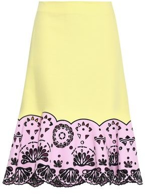 Emilio Pucci Two-tone Broderie Anglaise Cotton-pique Midi Skirt