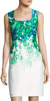 Donna Ricco Square-Neck Sleeveless Sheath Dress, Green/White