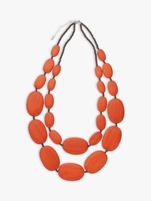 One Button Large Double Row Pebble Necklace, Burnt Orange