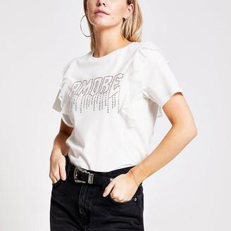 River Island Petite beige 'Amour' diamante frill T-shirt
