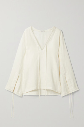 Fil De Vie Essaouira Tie-detailed Linen Blouse - Cream