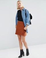 Asos Cord Pelmet Skirt with Patch Pocket and Thigh Split in Ginger