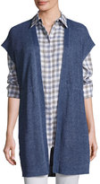 Lafayette 148 New York Long Mid-Weight Délavé Knit Vest