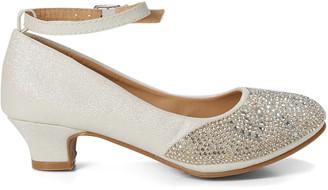 Easy Strider Girls' Mary Janes White - White Glitter Rhinestone-Studded Mary Jane - Girls