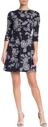Vince Camuto Printed Front Twist Dress
