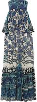 Roberto Cavalli Layered Floral-print Silk-chiffon Gown - Blue