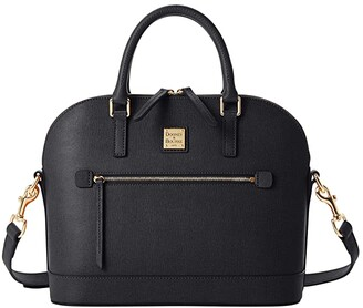 Dooney & Bourke Saffiano Domed Zip Satchel (Black) Handbags