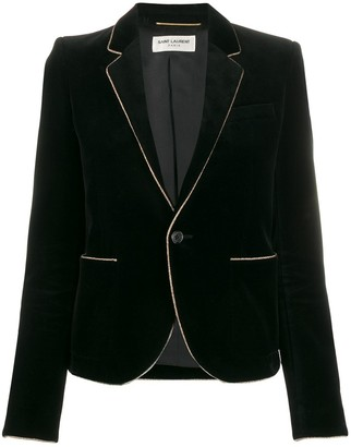 Saint Laurent Contrast Piping Velvet Blazer