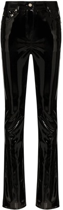 we11done Faux Patent-Leather Trousers