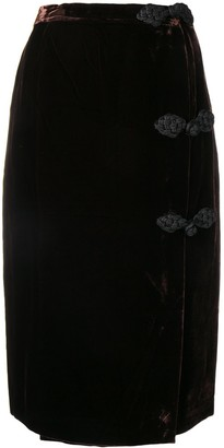 Valentino Pre Owned 1980's Velvet Pencil Skirt