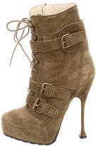 Brian Atwood Suede Lace-Up Ankle Boots