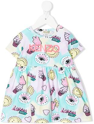 Kenzo Graphic-Print Flared Dress